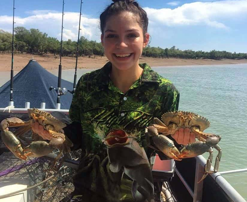 Ellie from Humbug Fishing Charters with mud crabs